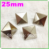 50Pcs 25mm Square Pyramid Studs Rivet Spike Nickel Punk with 4 Prongs for Leather Craft/Bag/Shoe/Clothing/Cap/Jacket