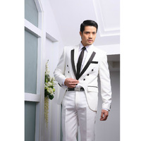 2014 new men shown suits patchwork wedding show evening party host dress black and white size: S-XL