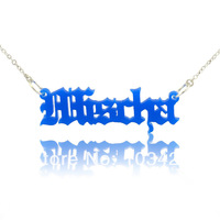 Old School Retro In Handmade Name Necklace Personalized Nameplate Pendant Old English style Name Jewelry