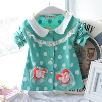 Wholesale 4pcs/lot 2014 new arrival baby girl dot princess outerwear kids spring & autumn casual 100% cotton cardigan coat C1096