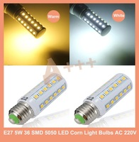 E27 5W 36 SMD 5050 White/Warm White LED Corn Light Bulbs AC 220V
