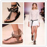 2014 Spring Summer Brand Women Sandals Ankle Strap Bowknot Studs Flat Dress Shoe Wedges Sandal Black+Gray Gladiator Cool Boots