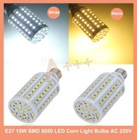 1PCS E27 15W SMD 5050 White Warm/ White LED Corn Light Bulbs AC 220V