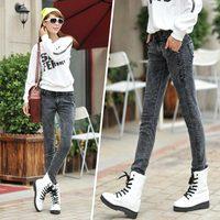 Autumn New Snowflake Jeans Pants Feet Korean Wave Thin Trousers Pencil Pants Black Pants