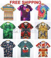 Geometric patterns women/men animal Leopard tiger/cat Double print funny 3D t shirts Cotton galaxy t shirts top freeshipping
