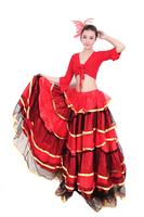 Quinquagenarian yangko clothes set fan dance clothes expansion skirt full dress costume