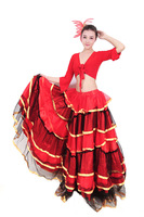 Quinquagenarian yangko clothes set fan dance clothes expansion skirt full dress costume