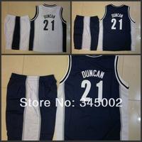 San Antonio Tim Duncan #21 Kids/youth white/blue Basketball (Jersey+short),2014 baby/boys/children basketball Uniforms As Gift