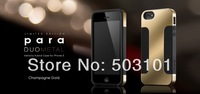 For iphone Luxury Plated PC + Soft Silicon Double layer Case for iPhone 5 5s 4 4s cover Phone Bags+2pcs screen protector