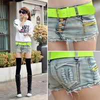 New Korean Wave Women Slim Thin Cowboy Miniskirt Ms Skirts Cowboy Culottes Belt