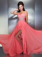 Coral Spaghetti Straps Halter Beaded Coral Color Slit Style Long Open Back Long Sexy Prom Dresses Designers Latest Fashion 2014
