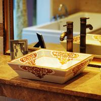 Ceramic one piece basin fashion square double layer washbasin 219
