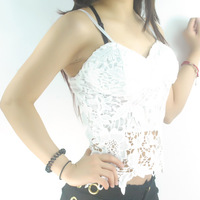 Free shipping 2014 queen hot-selling sexy spaghetti strap lace crochet tube top slim tube top basic vest top