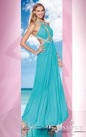 Hot Sell ! A-line Halter Chiffon Designer Stunning Evening Gown ,Sexy Party Dress 2014 with Plunging Cutout Detailing