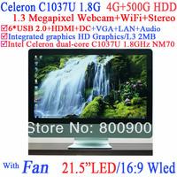 "pc all in one POS 21.5"" LED Screen 16:9 Intel HM65 Celeron C1037U 1.8G 1.3 megapixel HD webcam WiFi stereo sound 4G RAM 500G HDD"