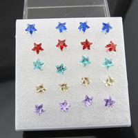 Free Shipping-Wholesale 10 Pairs Mix Lot Box Star Imitation Zircon Women Girl Ear Stud Fashion Jewelry