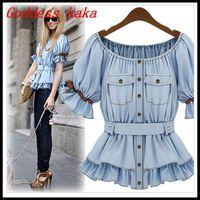 Spring 2014 new women shirts denim tops fashion short-sleeve slim waist top light blue shirt free shipping B011