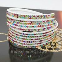 Mixed Color Multi-layer 12 layer 2 laps Leather Bracelets Charm For women  Bracelet Bangles 12 color choices