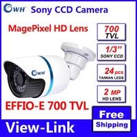 Free shipping 700TVL SONY CCD 4140+673 3MP HD Lens 24pcs IR leds OSD menu waterproof indoor outdoor CCTV camera with bracket
