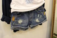Autumn Section Korea Shopping Import Retro Wild Do The Old Cowboy Leather Denim Shorts