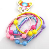 Wholesale 50pcs Mix Lot Colourful 6mm Round Beads Baby Girl Hair Band Headband Ponytail Holder Free Shipping