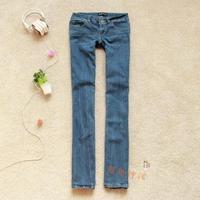 Foreign Trade Autumn And Winter When Korean Style Women Elasticity Cotton Leisure Cowboy Pants Low waist Speaker