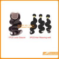 Brazilian virgin human hair lace closure with bundles 1pcs+3pcs lot  body wave queen hair unprocessed DHL Free shipping