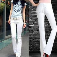 Cowboy Pants White Thin Slim Flares Low waist Trousers Korean Wave Weila Pants