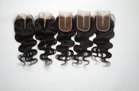 FREE SHIPING 3.5x4 Queen Wavy Brazilian Virgin Human Hair Closure Top Closure Queen Hair Lace Closure Middle Part Bleached Knots