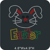 FREE shipping 40pcs/lot Cute Easter Bunny Rhinestone Transfer Hot Fix Motifs Design