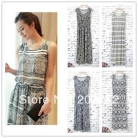 2014 women 's bohemia vintage full print dress elastic waist elegant one-piece dress tank dress free shipping