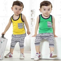 [Lucky Clover]Free Shipping,retail,1set,KD-0026-48,kids clothes sets,children t shirts and pant for 75-110cm