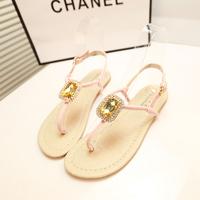 Hot-selling 2014 women summer bohemia big rhinestone flip-flop flats Lady's sandals all-match flip flat heel female shoes