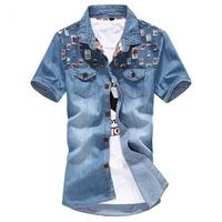 2014 Mens Short Sleeve Denim T Shirt  Turn-Down Collar  Cardigan T-Shirt  Blue Jean Mens Tops XXXL  Wholesale Free Shipping