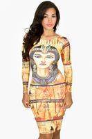 New Noble Egyptian Queen gold print elegant bodycon bandage dress slim  women high waist evening party dresses clubwear WJ6002