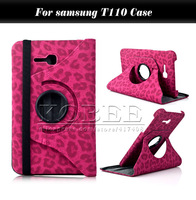 Leopard Tablet Case for Samsung Galaxy Tab 3 Lite T110 7.0 inch,Book Stand PU Leather Skin Case Cover for Samsung lite 7.0 T110