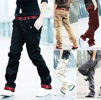 Hot Sale 2014 Mens Stylish Design Baggy Pants Slim Fit Trousers Casual Long Cargo Pants Plus Size M-3XL