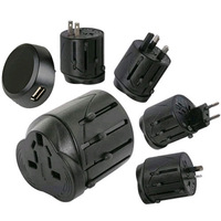 Universal Travel Adaptor Adapter With USB Port World Wide International
