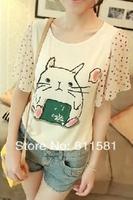 Free shipping 2014 summer new women's cartoon pattern short-sleeved T-shirt cotton t-shirt Women