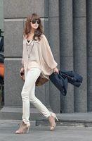 Free shipping New fashion women's chiffon loose batwing sleeve t-short blouse top