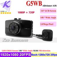 "New Car Rear View Camera 1080P + 720P Car Driving Recorder 2.7"" LCD+140 Degree Wide Angle + G-sensor +IR Night Vision +MD detect"