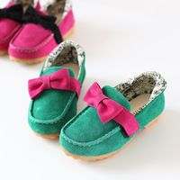 2014 nubuck cowhide cow muscle child single shoes outsole sweet princess bow leather female child gommini loafers