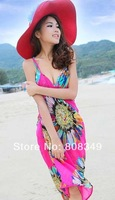 2014 new Women Sexy Chiffon Beach Dress Flower Print Cover Up Cloth Sunscreen Swimwear rose/blue/yellow free ship