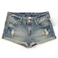 Foreign Trade Summer New Women In The Lumbar Retro Hole Cowboy Shorts Denim Shorts C290