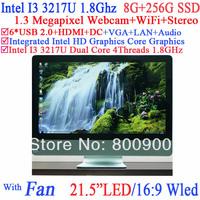 21.5 inch monitor pc all in one with Intel I3 3217U dual core four threads 1.8Gh 16:9 WLED 8G RAM 256G SSD Windows Linux Ubuntu