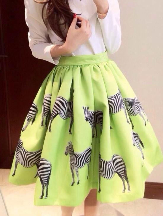 2014 New Summer Women Cute Skirt High Waist Zebra Pattern Pleated Flare Skirt(China (Mainland))