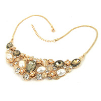 New Brand Vintage Necklace Gold chain Rose Crystal Pearl Bib Choker Statement Necklace Boutique 2014 Fashion jewelry Women