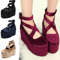 Hot Lady's Platform Shoes Retro Wedge Flatform Punk Creepers Thick Shoes