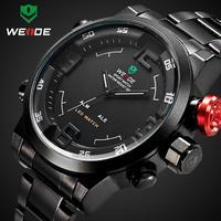 Top Sale 2015 WEIDE Men Watch Military 3ATM Dual Time LED Digital Analog New Sports Quartz Wristwatches 6 Colors Watch Dropship