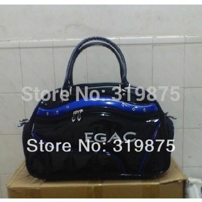 Hot - Black Plus Navy Blue Golf Clothing Bag Top PU Leather Golf Boston Bag Men(China (Mainland))